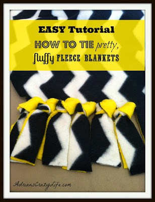 Easy Tutorial on how to tie pretty FLUFFY Fleece Blankets. These are so easy and inexpensive to make and they make WONDERFUL gifts.