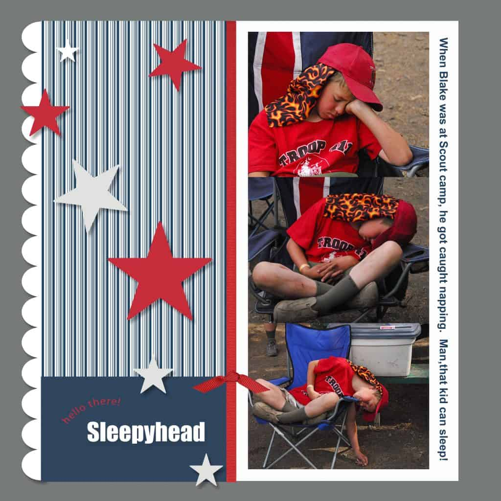 Digital Scrapbooking: Scout Pages - Sleepyhead page @AdriansCrazyLif This will always be my favorite page. It shows my son's famed ability to fall asleep under nearly any conditions.