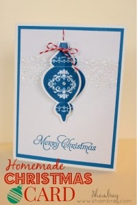 Lovely and easy hand-stamped holiday card by Shambray