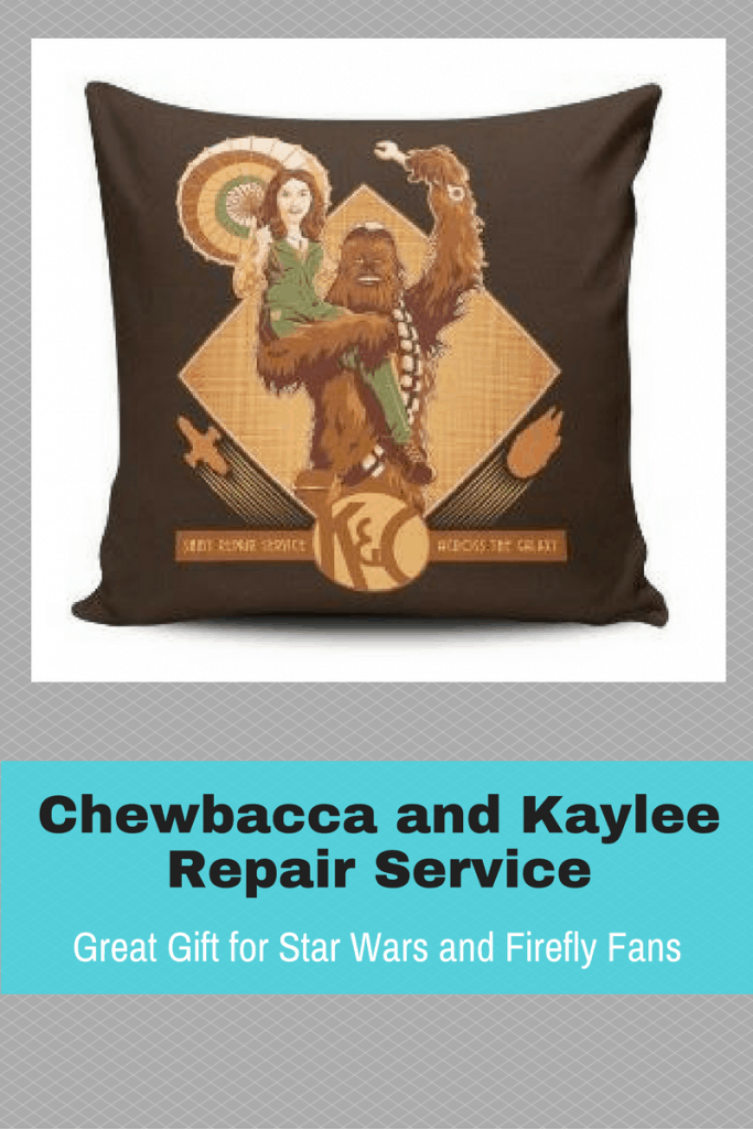 This pillow brings together the best of Star Wars and Firefly with the Chewbacca/Kaylee Repair Service