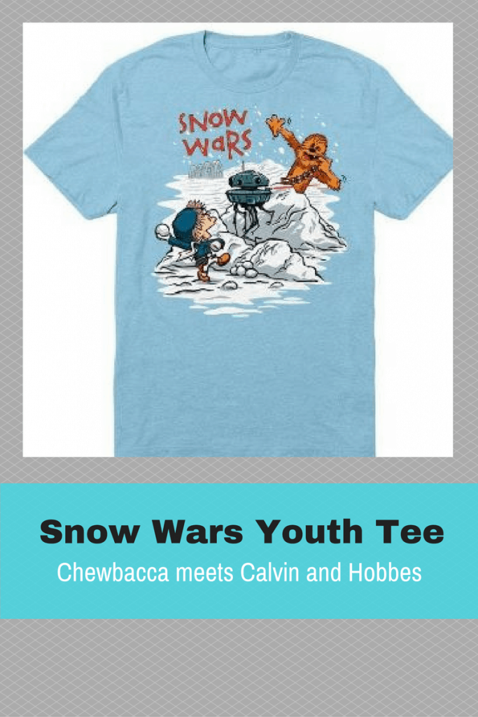 How fun is this? Star Wars meets Calvin and Hobbes in this fun youth Tshirt. Snow Wars!