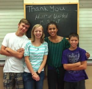 My son, his girlfriend and two of my grandkids serving at the homeless shelter. (Yes, I know it's odd that my youngest son and my oldest grandkids are so close in age. We're an odd family that way)