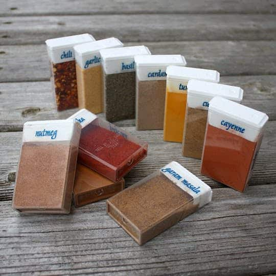 Keep your Spices in TicTac containers.