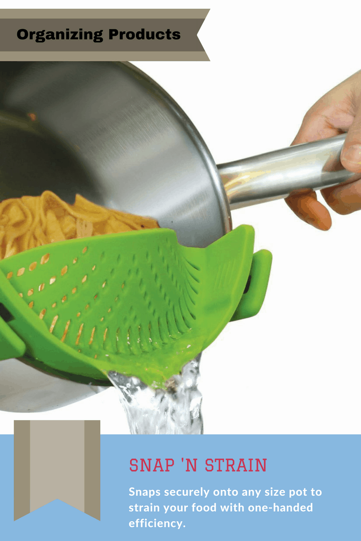 This versatile silicone strainer clips onto any pot for single-handed straining of any food.