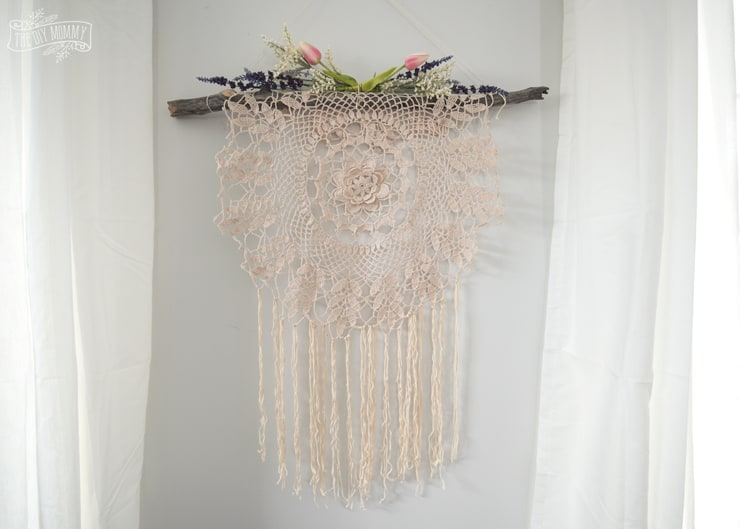 Remember macrame? I do, but I never thought to combine it with a pretty doily like this. It's a very cool boho decor DIY item.