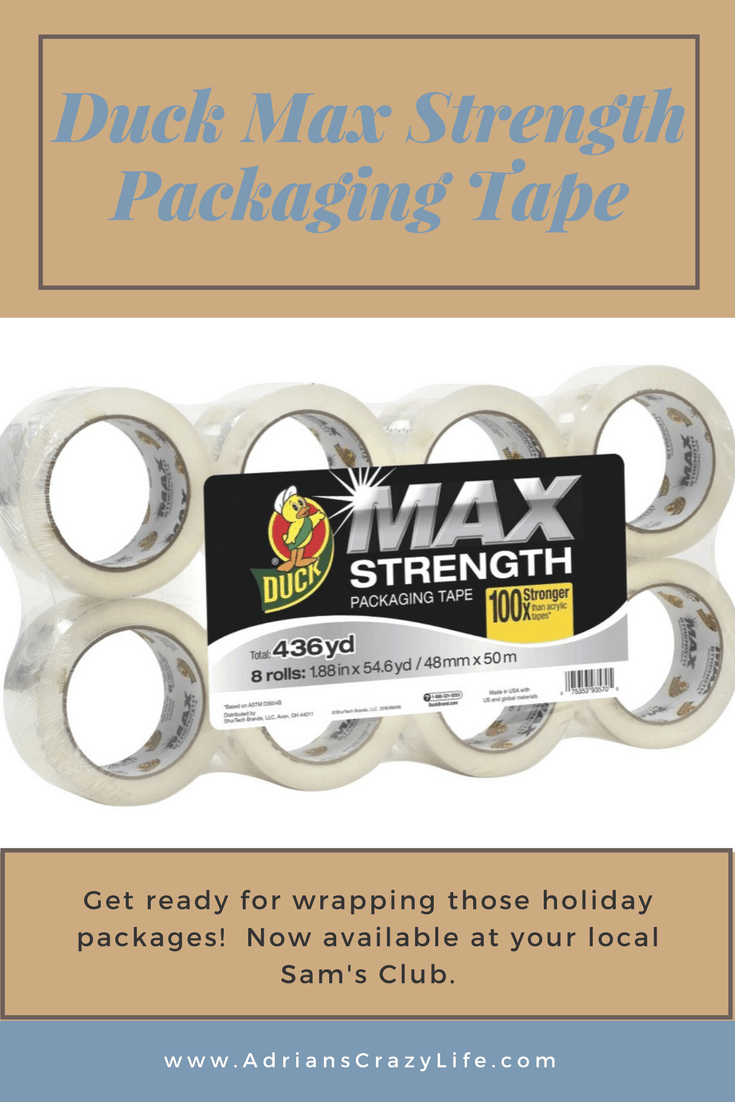 Get ready for your holiday packages. Get this Duct Max Strength Packaging Tape at Sam's Club. Less than $20 for an 8 pak. #duckmax #ad