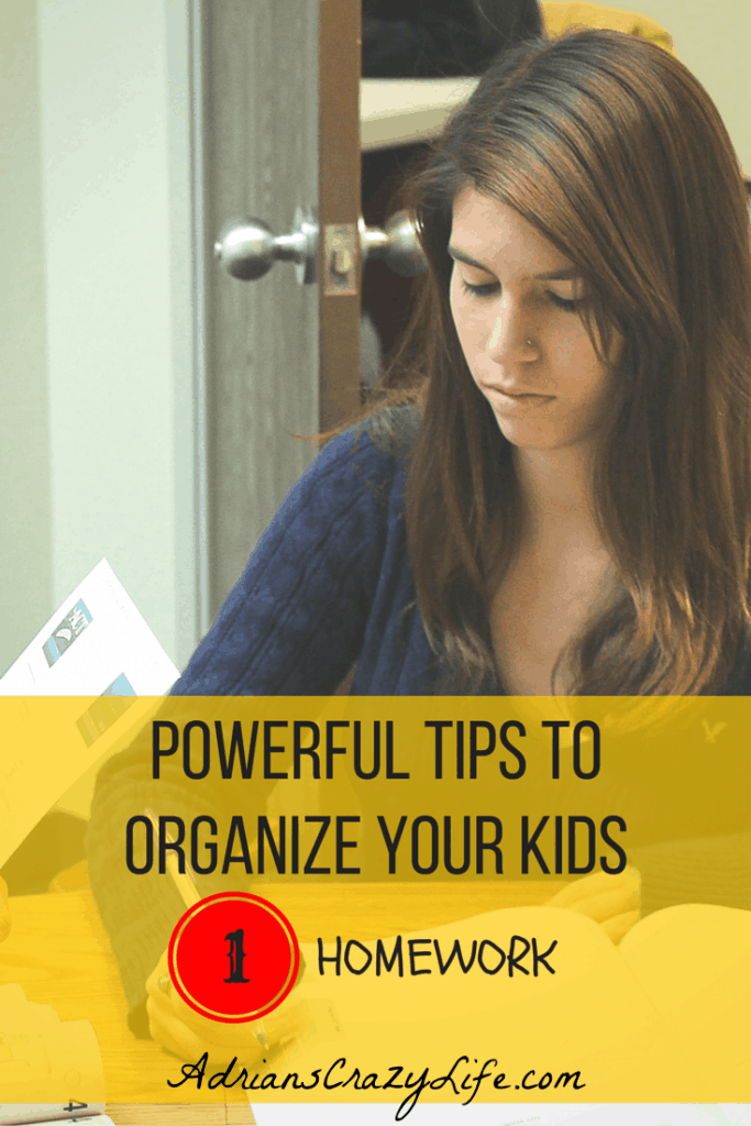 Organizing Your Kids - This post is about homework. 1 of 3 of the series.