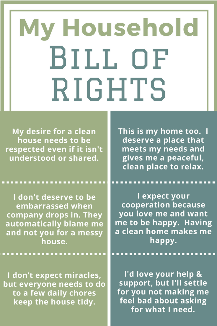 Housework is one of the top 3 causes of stress in marriage and families.  I have some simple and workable tips to get your family to HELP with housework.  Read my Bill of Rights that I created for my home.  It has WORKED beautifully.