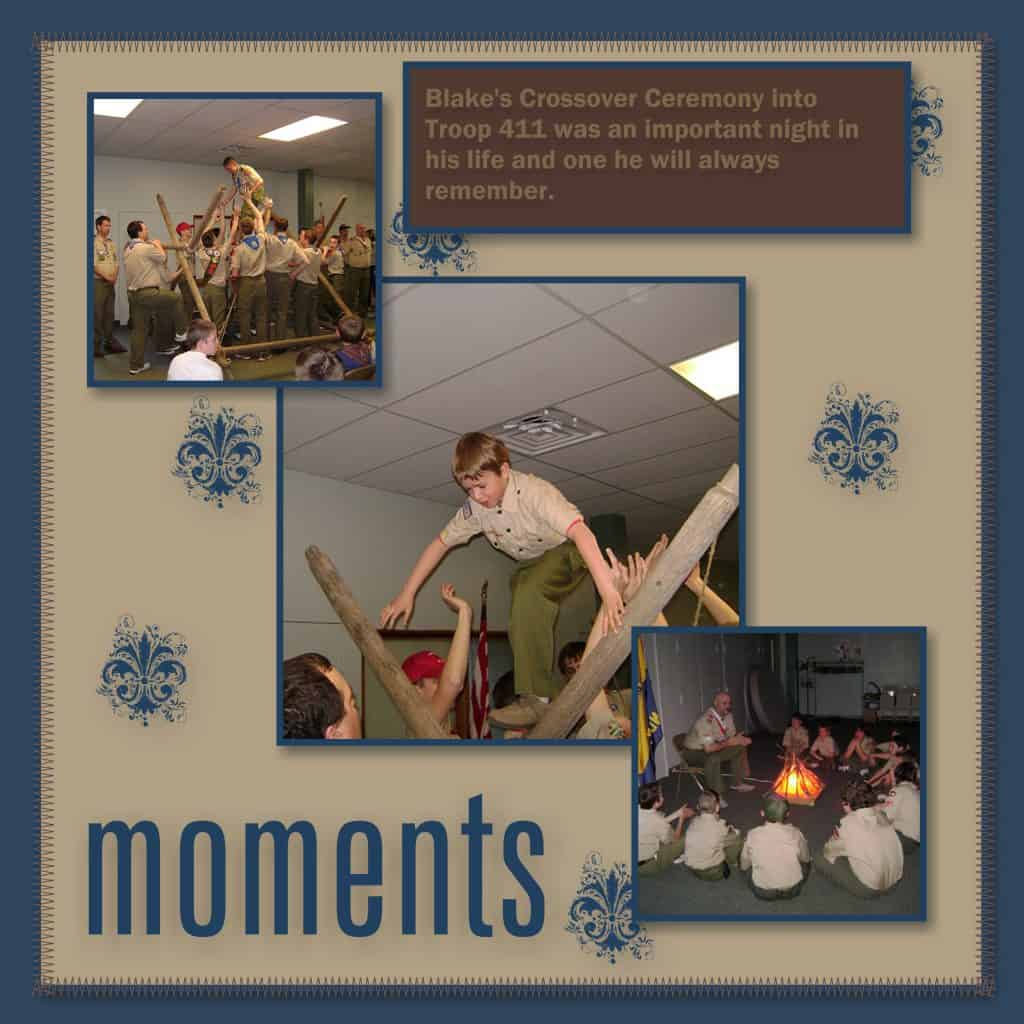 Digital Scrapbooking: Scout Pages - Early Years @AdriansCrazyLife. This was Blake's crossover ceremony into our current Troop.