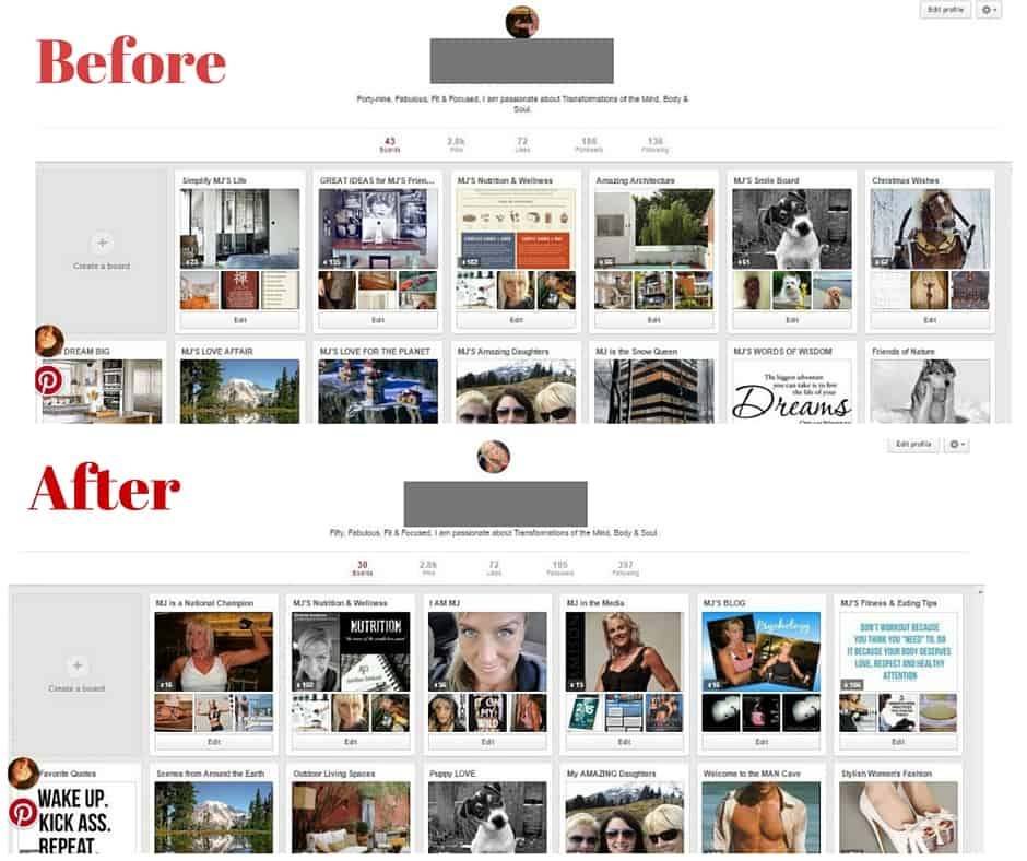 Are you making these Pinterest mistakes? Before and After screenshots from one of my clients. See how much better it looks?