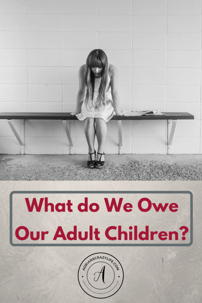 Adult children are being jerks and acting entitled. How do we determine what we owe them and what they should do for themselves? #parentingtips #adultchildren #parentingadultkids #adultkids