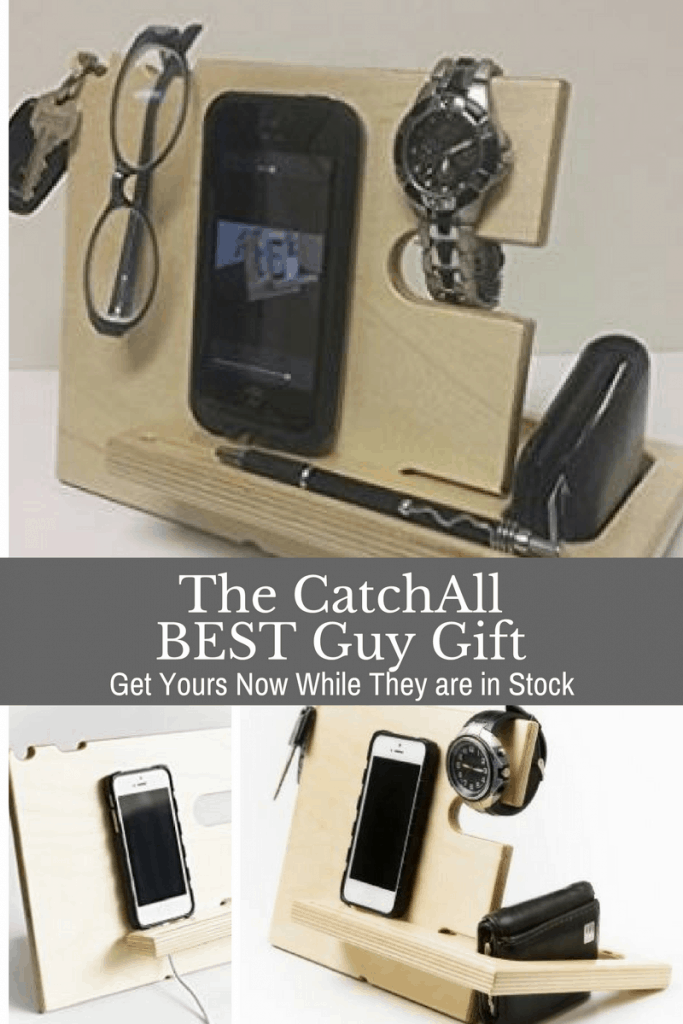 Your husband can store his phone, wallet, watch, glasses, and keys on one attractive real wood stand.