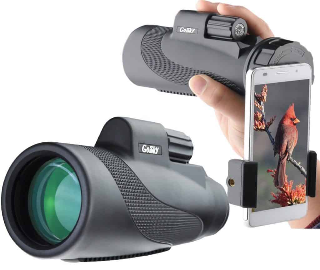 These compact binoculars are an unusual style - a monocular style with a cell phone attachment