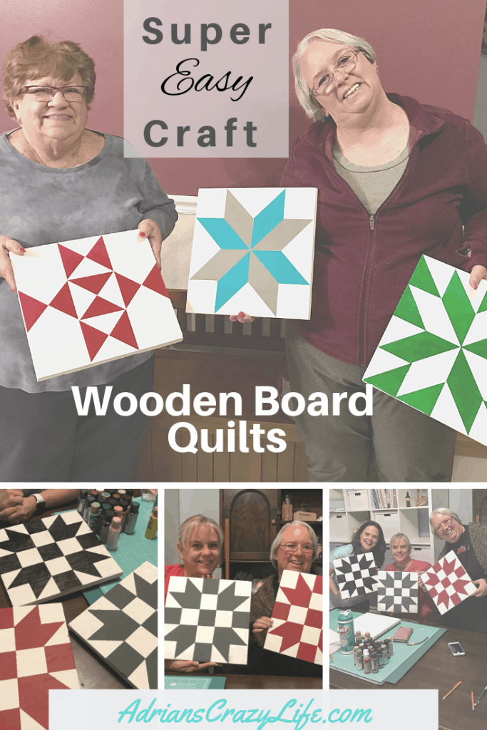 These wooden board quilts are so fun and easy to make and what a fun gift idea. I got so excited, I got together with some friends and made a BUNCH of them.