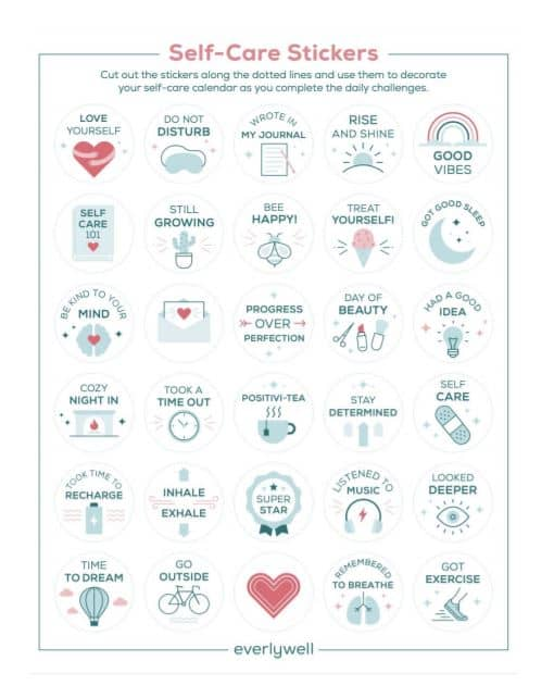 Self-care printable stickers